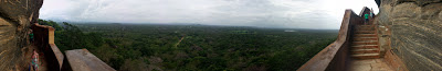 View from porcelain Mirror Wall, Sigiriya, Sri Lanka, panorama photograph, jungle, Buddha statue, rainy weather, foggy