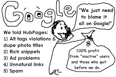 Satirical cartoon of Paul Edmondson blaming Google for HubPages demise