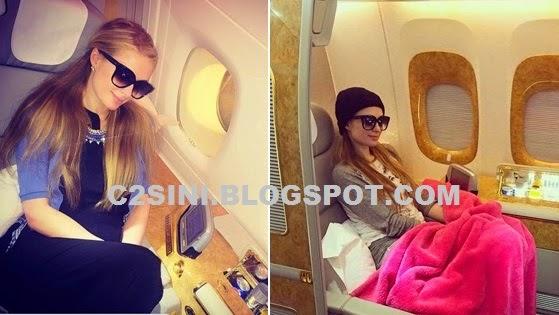 3 Gambar Paris Hilton dalam pesawat teruja ke Malaysia