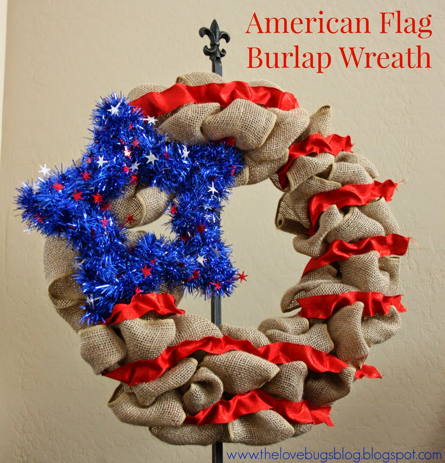 Independence Day American Flag Burlap Wreath