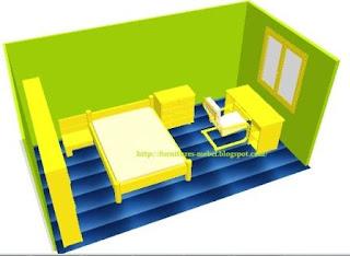 kamar minimalis hijau biru