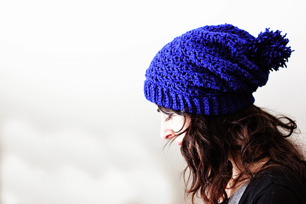 Pompom Slouchy Beanie Pattern - crochet your own beanie with this easy pattern! $5.00 PDF download