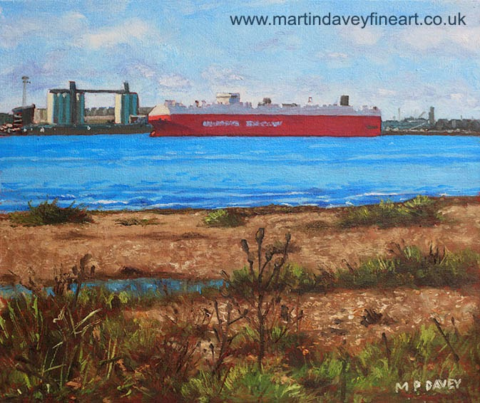 Southampton cargo ship as seen at Weston Shore-oil painting