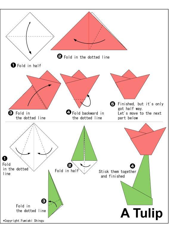 cara cara nak buat origami bunga tulip