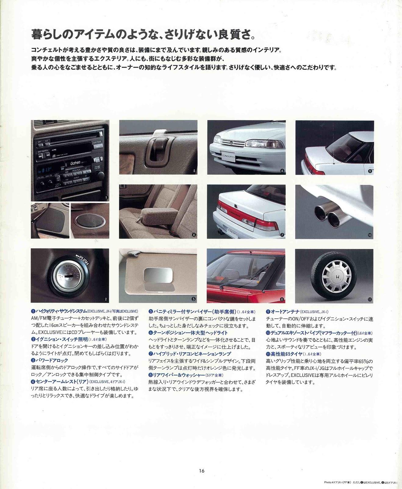 Honda Concerto, wyposażenie, wnętrze