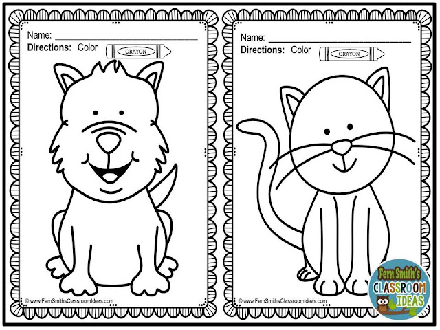 Fern Smith's Classroom Ideas FREE Color For Fun - Family Pets resource at Teacherspayteachers.