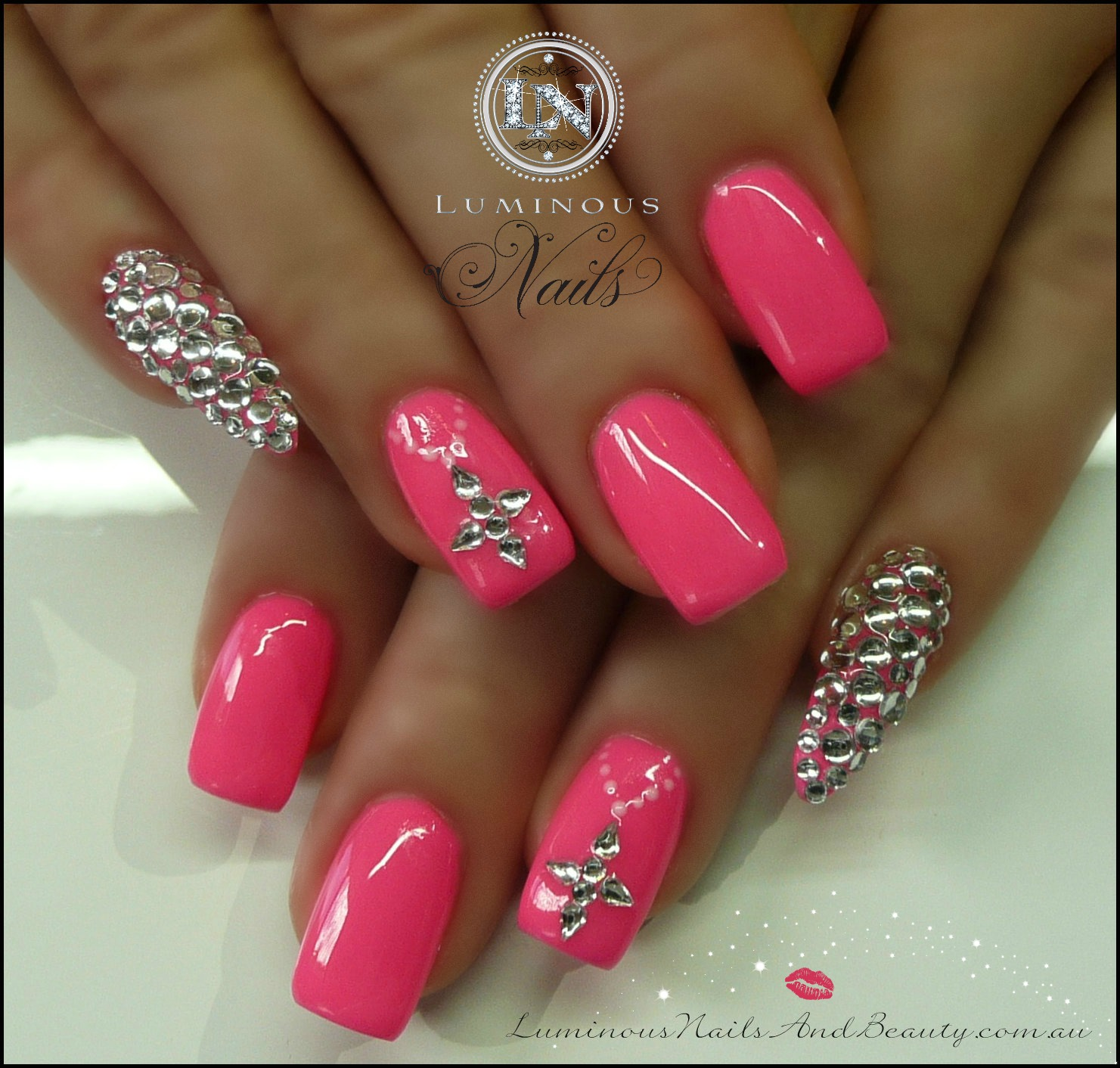 hot pink nails with diamonds - photo #43