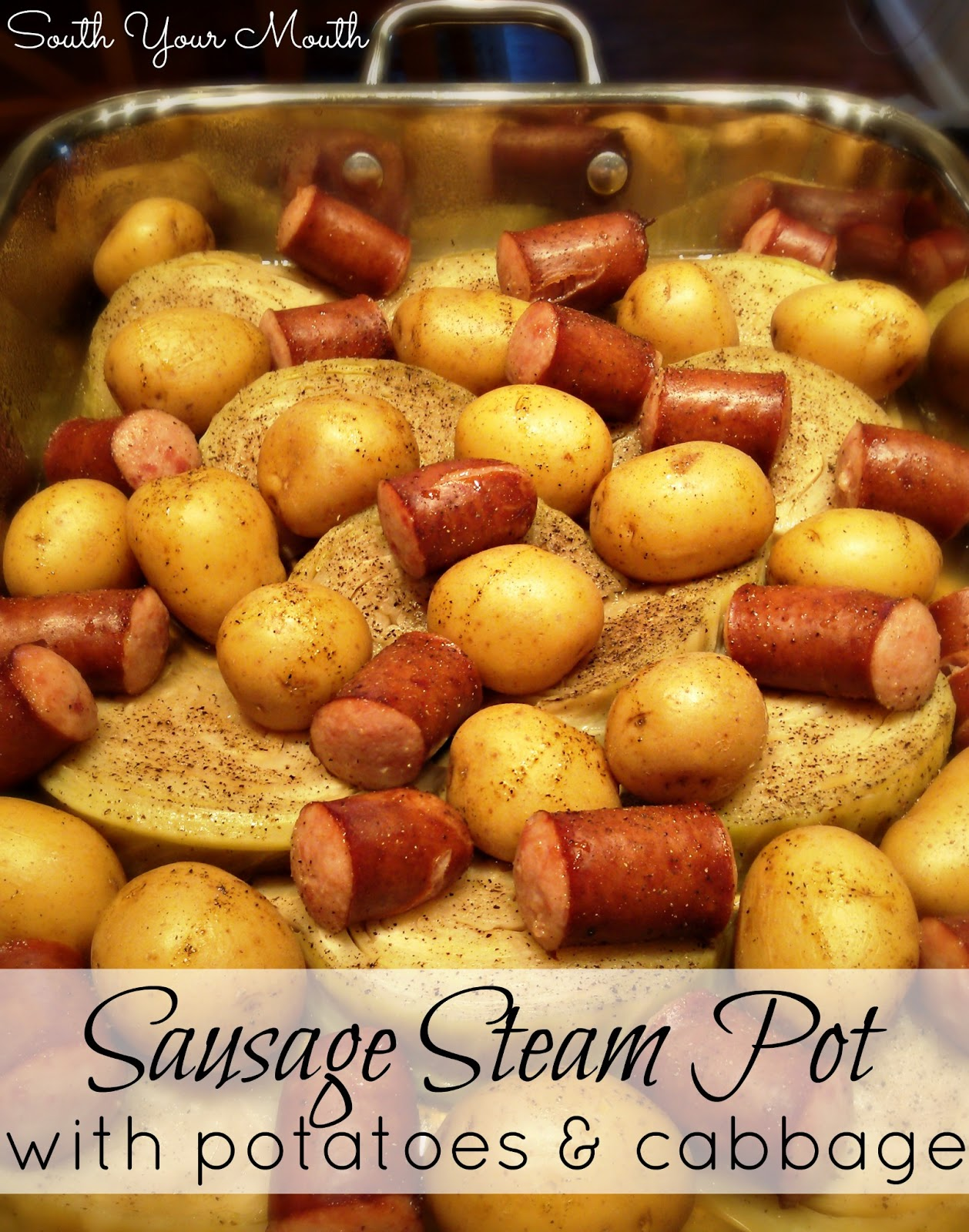 sausage steam pot with potatoes cabbage 2 pounds smoked sausage