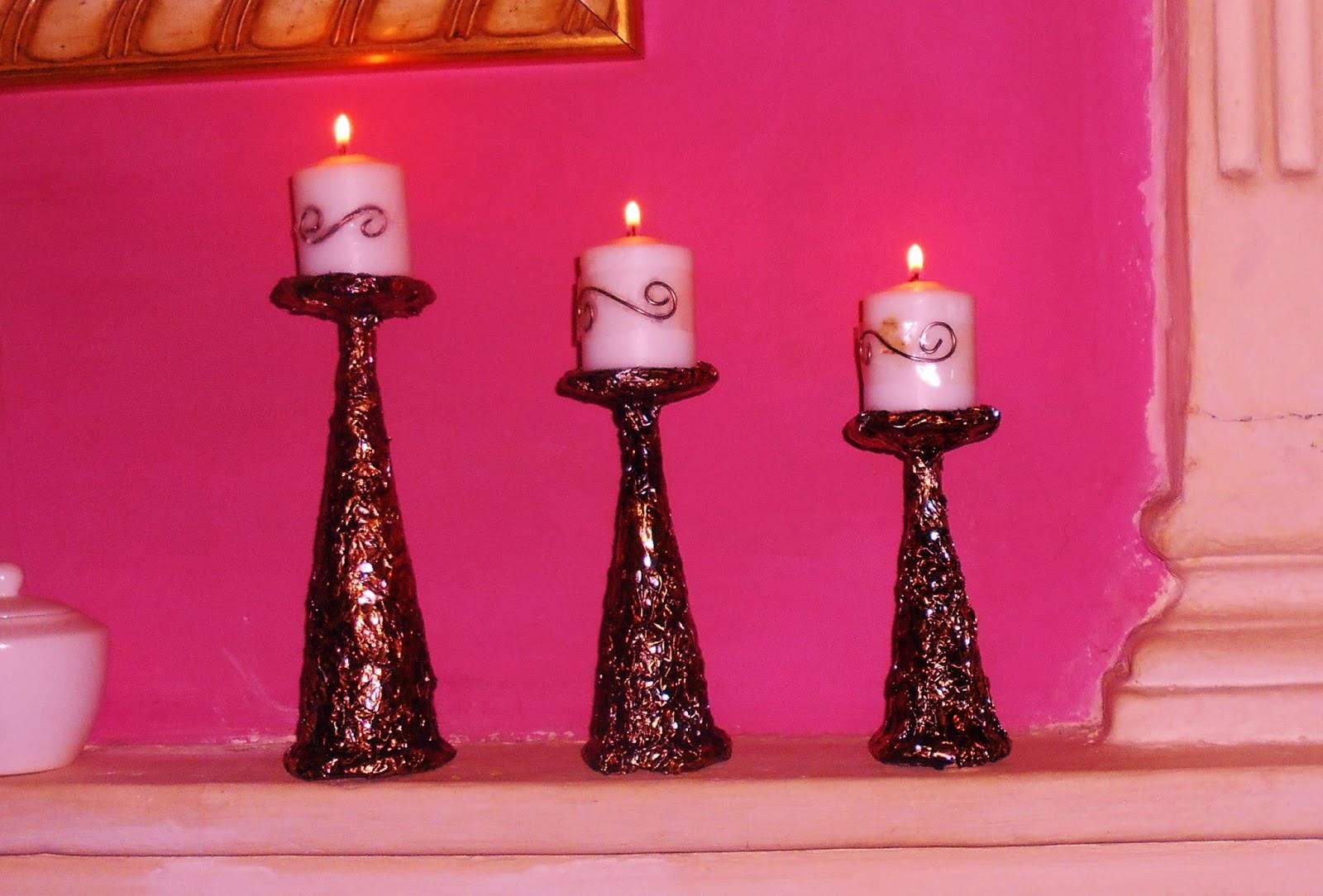 Los trucos de julieta candelabros hechos con material de - Como hacer candelabros ...