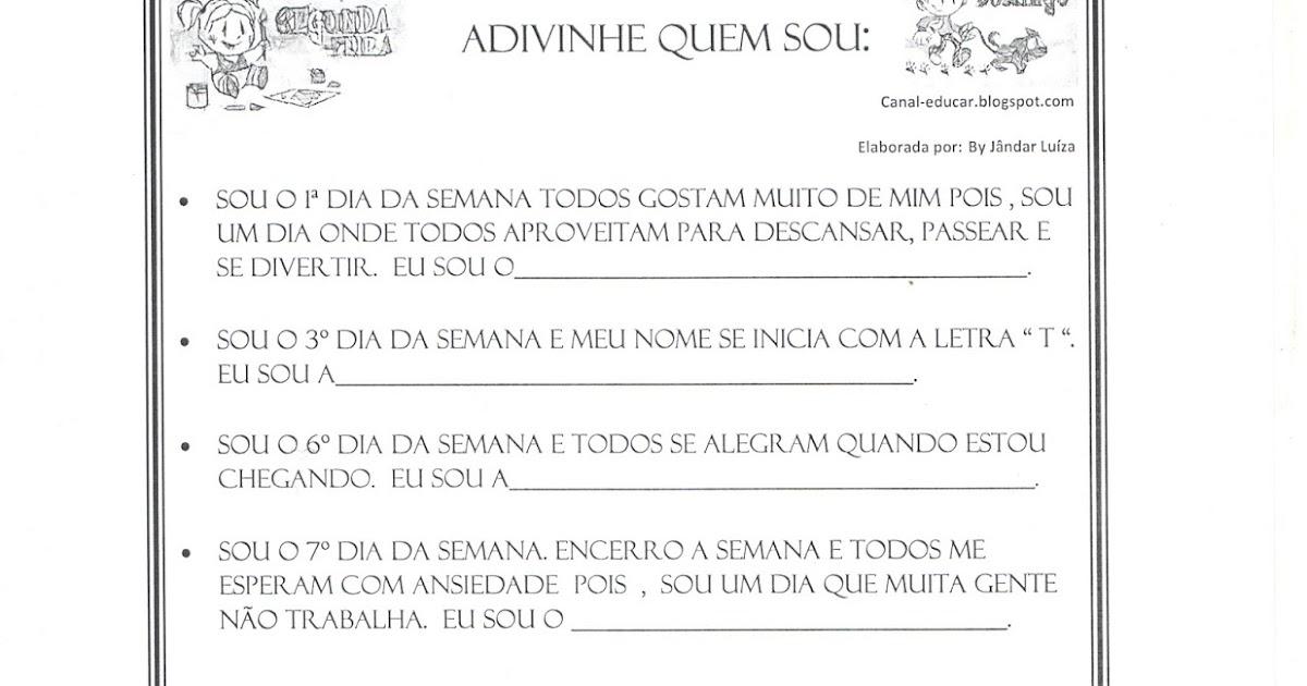 Populares www.canal-educar.net: ADIVINHAS - DIAS DA SEMANA YS79