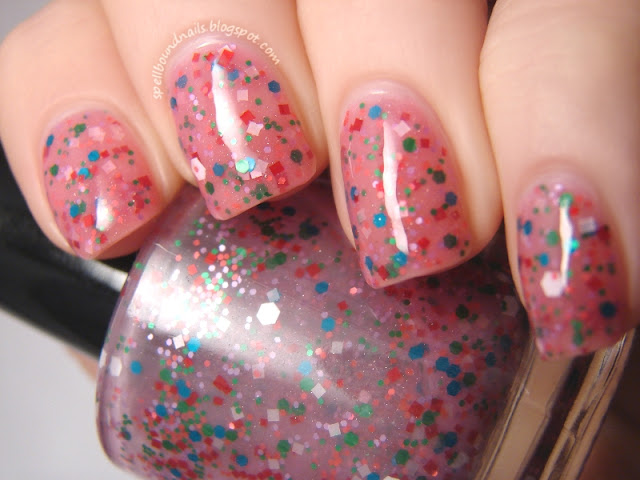 nails nailart nail art polish mani manicure Spellbound Lacquer Candyland Candy Land Candy Coated Collection Frosting Coated Sprinkles glitter jelly pink red square hex shimmer