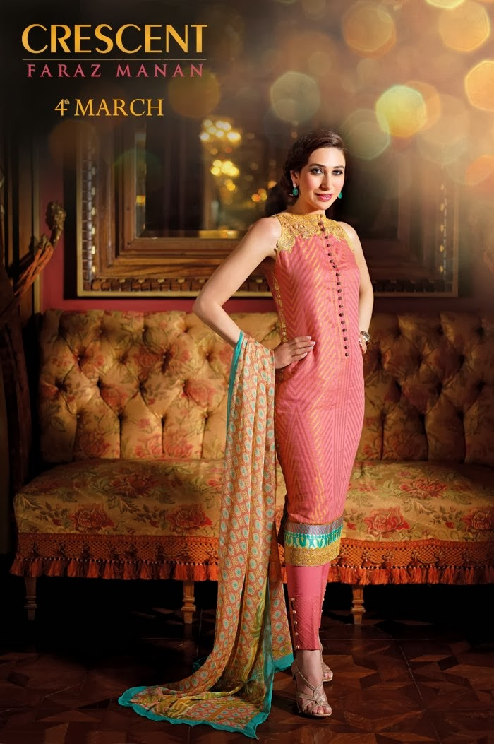 Karishma Kapoor In Pakistani Dresses Summer Collection 2013 By Crescent Faraz Manan