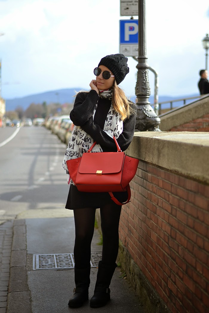outfit nero celine rossa