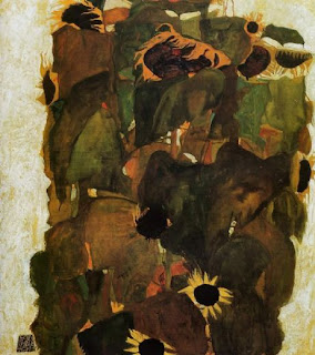 Sunflowers, by Egon Schiele. Detailed description follows in caption.