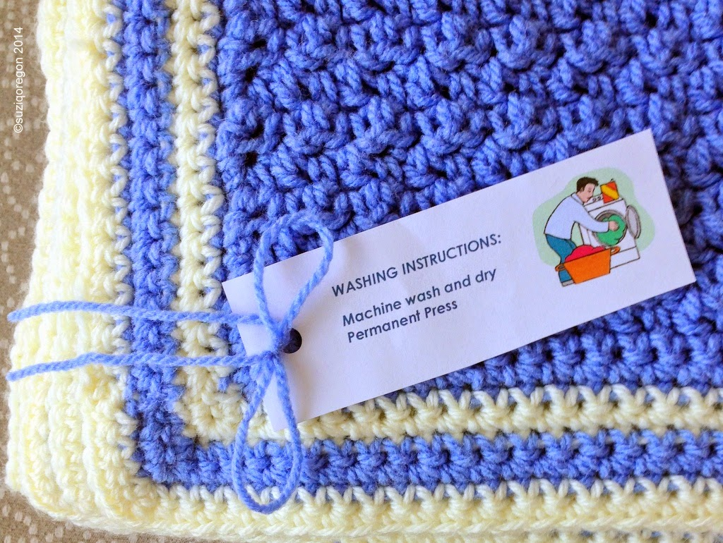 baby afghan border and washing instructions tag