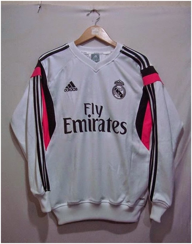 Sweater Traning Terbaru Official 2014-2015 Club Real Madrid Liga Spanyol Warna Putih Pink