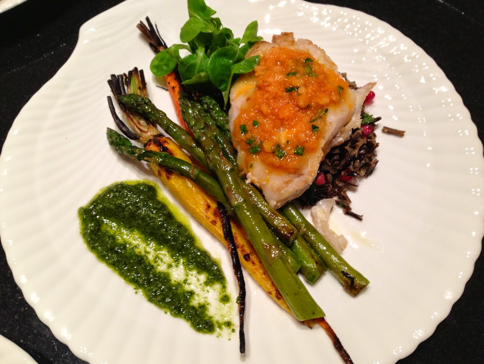 Striped bass, wild rice with ginger sauce, asparagus + carrots, carrot ...