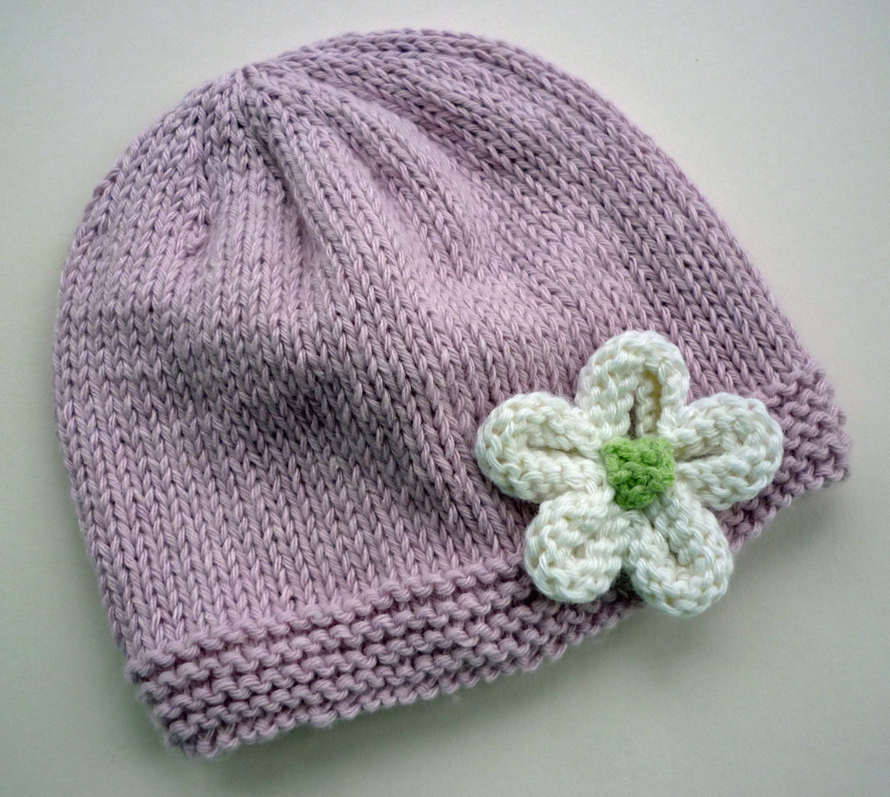 Knitted Baby Beanies Free Patterns : Mack and Mabel: Knitted Flower Tutorial
