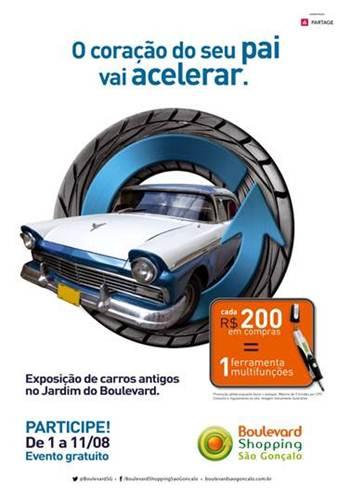 """Boulevard São Gonçalo promove exposição de carros antigos e promoção """"trocou, ganhou"""" neste Dia dos Pais"""