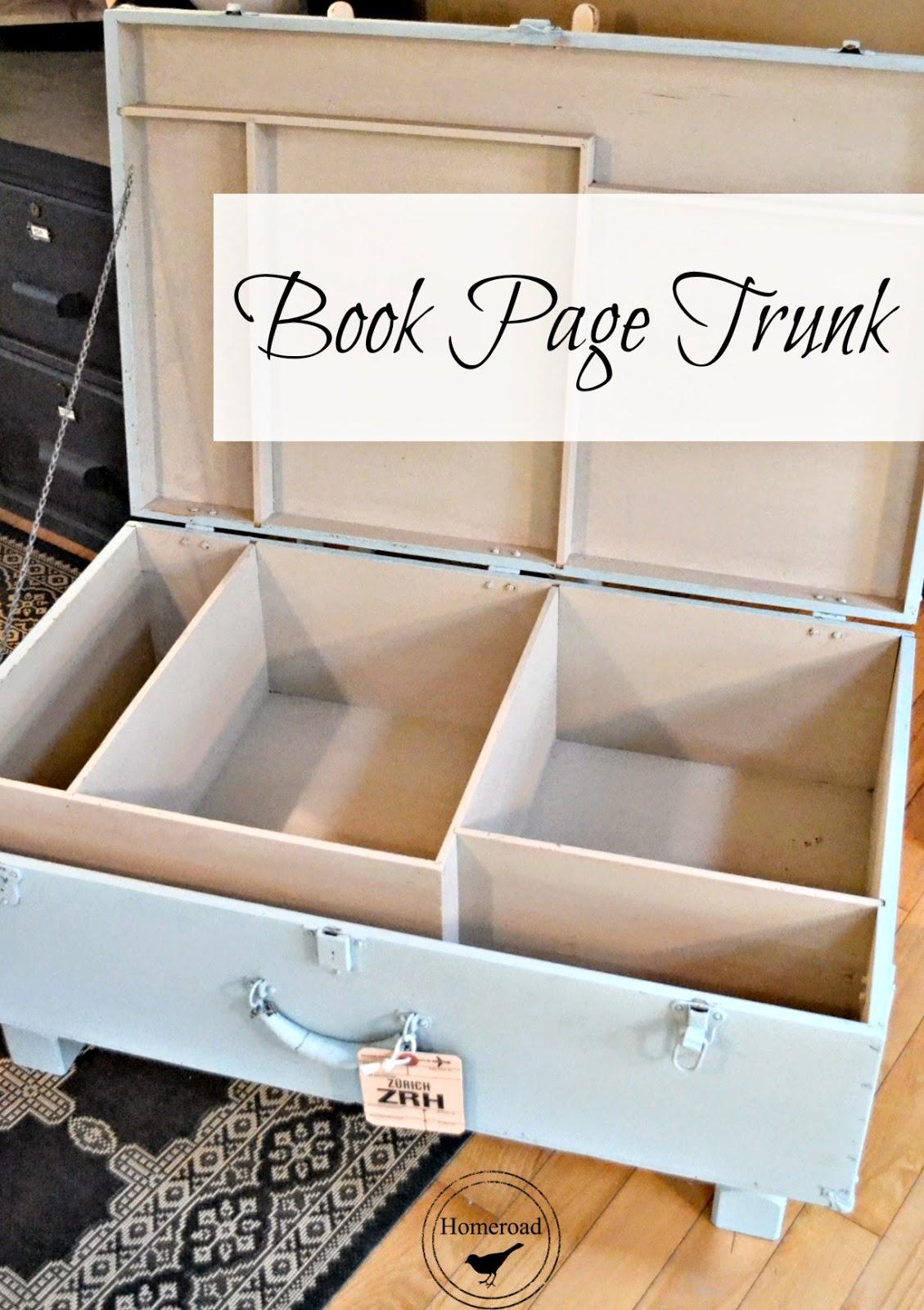 vintage book page trunk www.homeroad.net