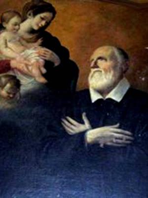 San Felipe arrodillado ante la Virgen con el Niño y angelitos