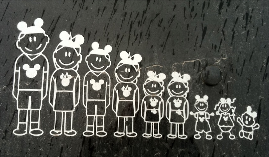 Mrs Happy and I saw this display of cute family car decals with the Disney ...