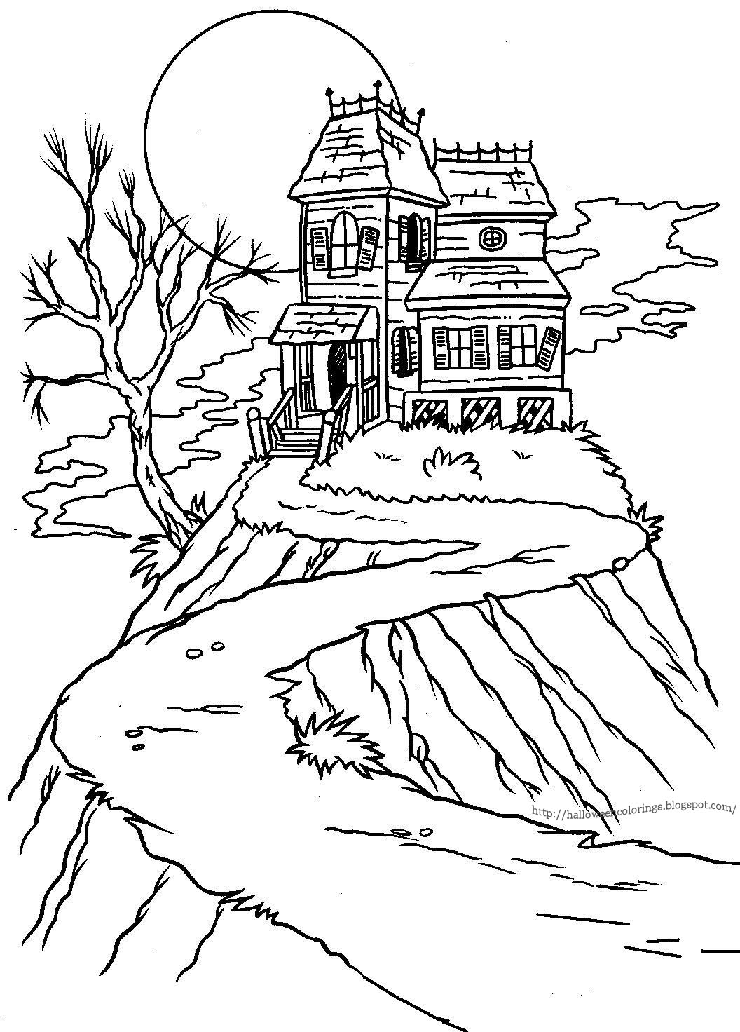 haunted house coloring pages to print - halloween colorings