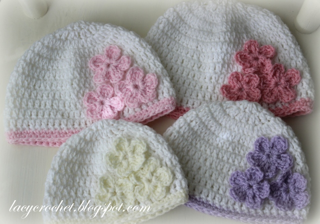 Lacy Crochet Baby Hat With Three Flowers Pattern Giveaway
