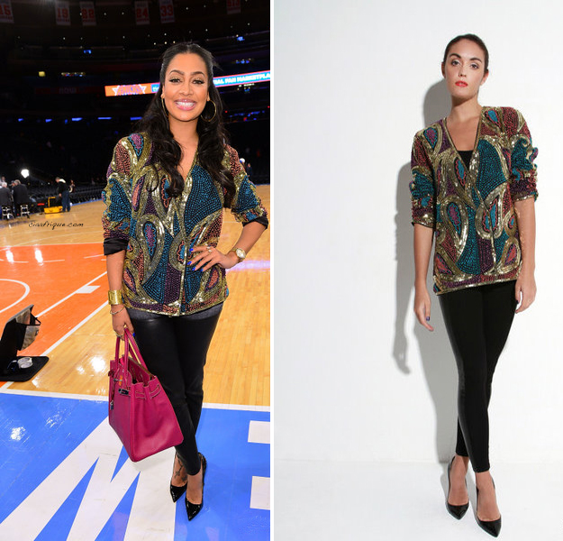 LaLa Vasquez Anthony was spotted  last night at the  Knicks vs. Celtics game  sporting this cute Virgos Lounge Aggy Jacket.