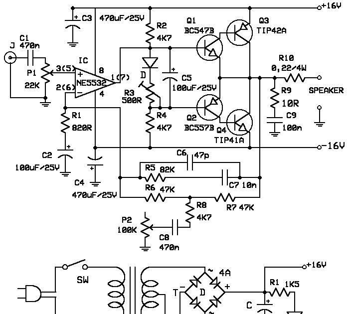 schematic circuit electronics  10 watt amplifier schematic