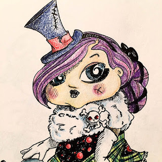 Ink and colored pencil drawing of a gothic girl with purple hair dressed in a top hat and faux fur capelet with skull and crossbones pin