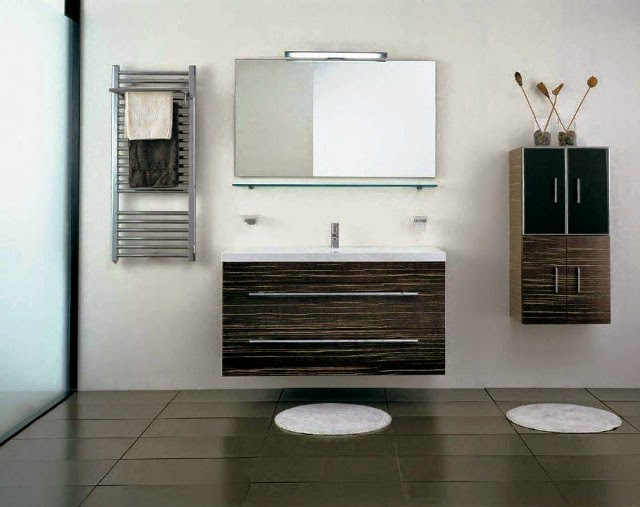 wall color for bathroom with black and white tile