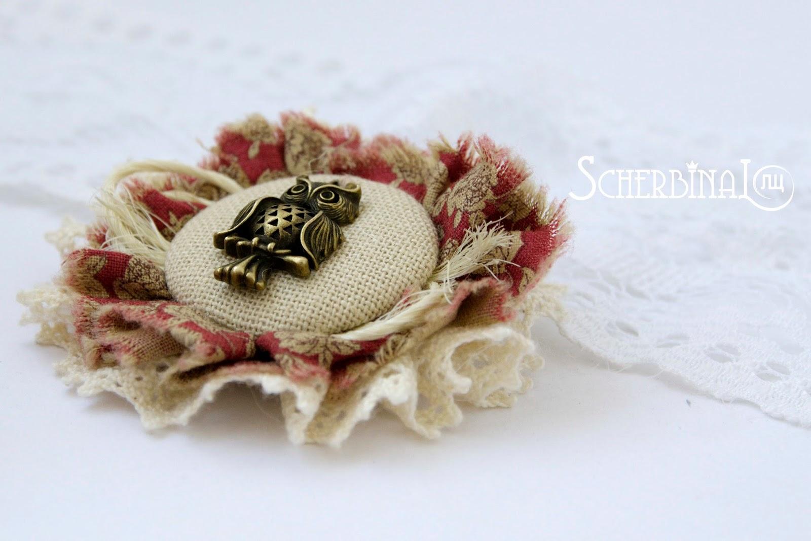 текстильная брошь, бохо стиль