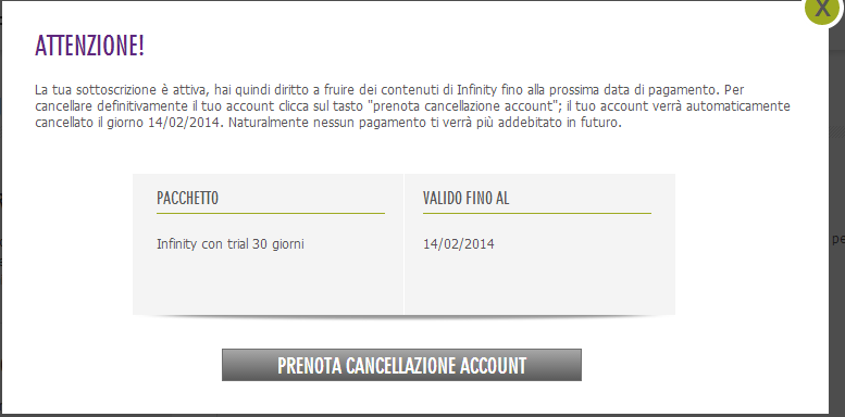 come disattivare account infinity tv cancellare eliminare