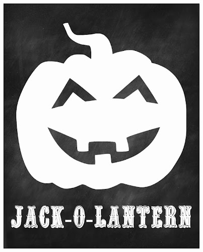 Jack-o-lantern Chalkboard Printable from Blissful Roots