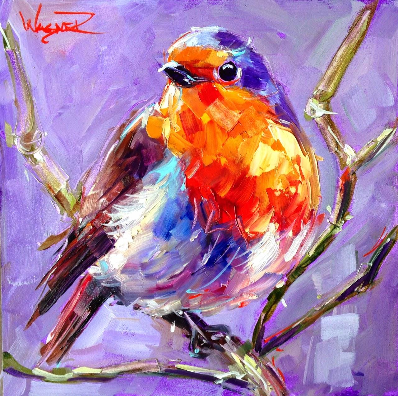 Olga Paints: SOLD - CONTEMPORARY BIRD PAINTING BLUE BIRD ...