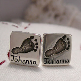 Baby Footprint Cufflinks, Personalized Square Silver Cufflinks