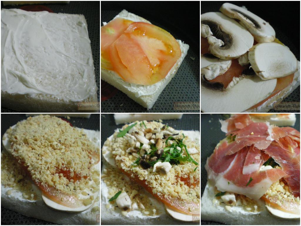 Sándwich de champis y avellanas (elaboración)
