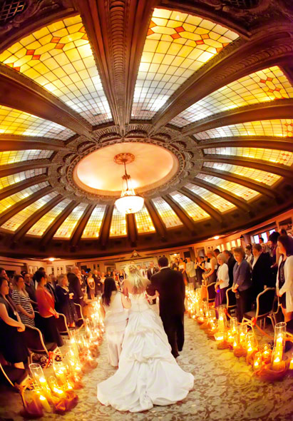 arctic club seattle wedding, best seattle wedding venues, northern lights dome room wedding ceremony