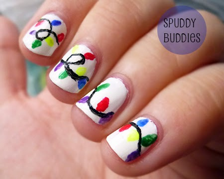 Spud Nails: Christmas nails: a string of lights