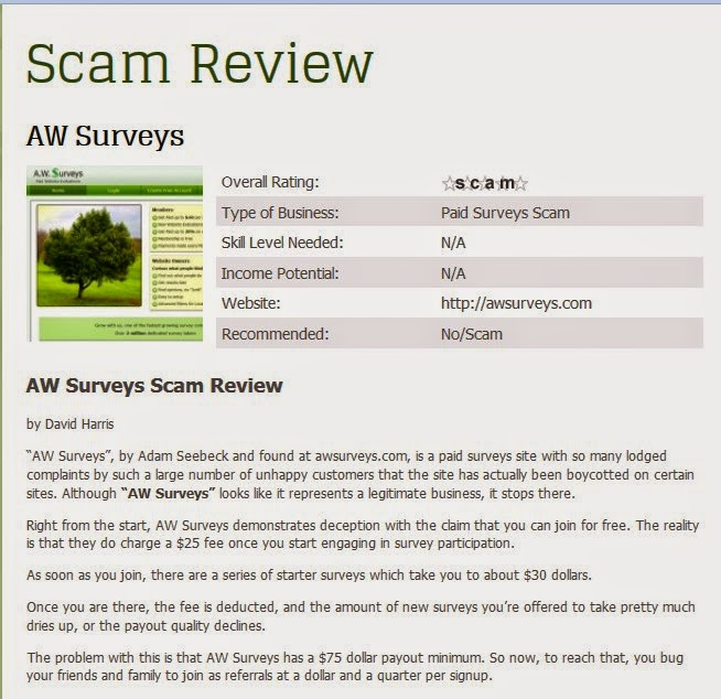 Scam Review. AW Surveys oszuści