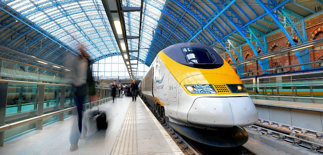 Eurostar train in St. Pancras International Station in London. Photo is the property of EuroStar. Unauthorized use is prohibited.