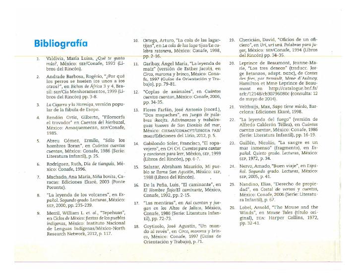 Bibliografía español lecturas 2do bloque 5/2014-2015