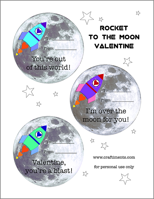 Free printable rocket to the moon valentines from Craftiments.