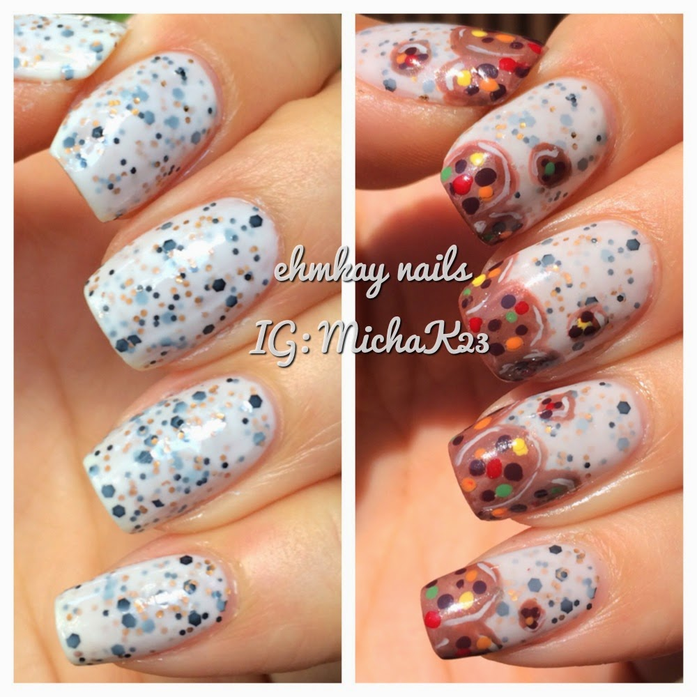ehmkay nails: Model City Polish Cookies & Milk with Cookie Nail Art