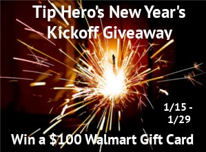 Enter the New Year's Kickoff Giveaway Event to win $100 Walmart GC. Ends 1/29.