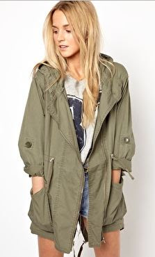 Khaki parka jacket from Primark at ASOS with studs on model