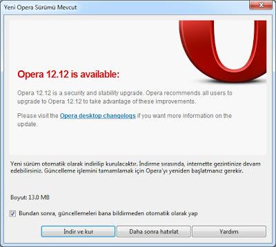 Opera Tarayıcı Güncelleme