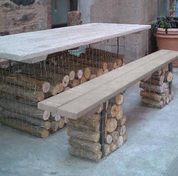 Jardin Decora: Muebles de jardín con troncos y piedras