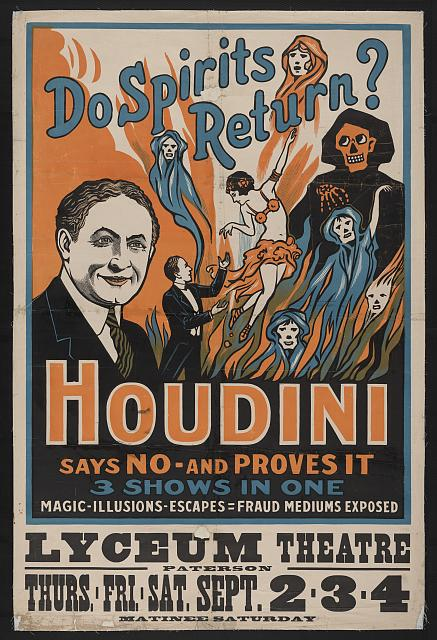 printables, circus, classic posters, free download, graphic design, magic, retro prints, vintage, vintage posters, Do Spirits Return? Houdini Says No and Proves It - Vintage Magic Poster